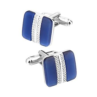 Classy Premium Square Silver Blue Cufflinks Perfect Present Gift Husband Wedding