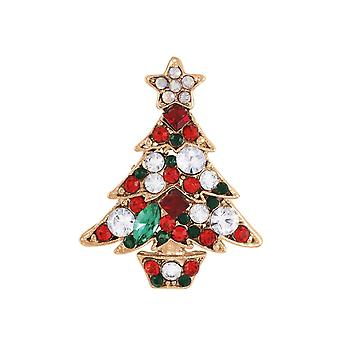 Eternal Collection Yuletide Multi Coloured Crystal Christmas Tree Rose Gold Tone Brooch