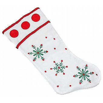 48cm Felt Christmas Stocking White Red Green Snowflakes Folded Cuff Pack of 20 (WSL630502)