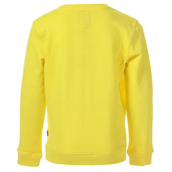 Junior Boys Franklin And Marshall Logo Crew Sweat In Yellow- Ribbed Cuffs,