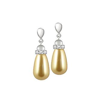 Eternal Collection Beaumont Gold Glass Pearl Silver Tone Drop Pierced Earrings
