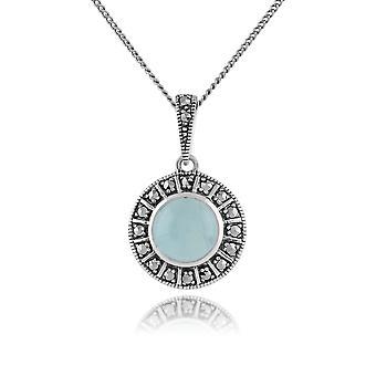Gemondo 925 Sterling sølv melkeaktig Aquamarine & Marcasite Art Deco kjede
