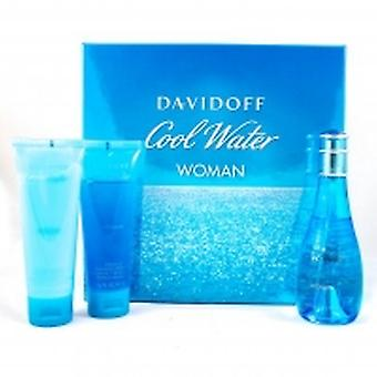 Davidoff cool water woman - vrouwen set 100 ml Eau de Toilette EDT 75 ml bodylotion & 75 ml Toon Translator gel