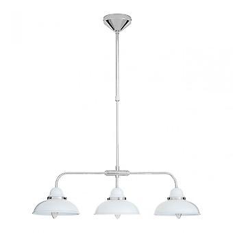 Premier Home Jasper Pendant Light, Chrome, Stainless Steel, White