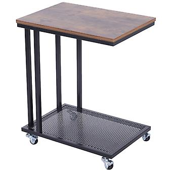 HOMCOM Mobile Wooden Side Table C Shape Coffee Sofa Side End Laptop Stand Rolling Castors Storage Trolly