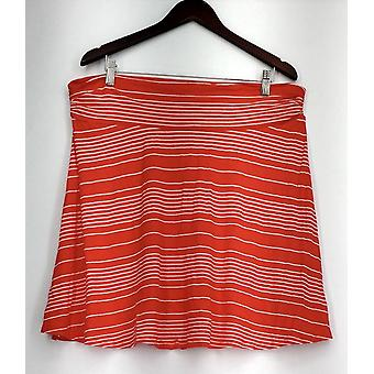 Merona Skirt Pull On Rounded Hem Striped A-Line Style Red Orange/ White