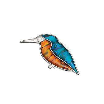 Eternal Collection Kingfisher Paua Shell Silver Tone Bird Brooch