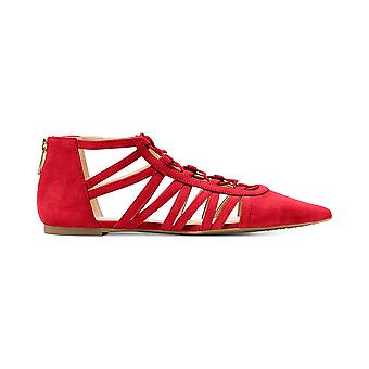 Michael Kors Clarissa Strappy Lace-Up Flats Bright Red Suede 5.5 M US