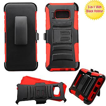 ASMYNA Black/Red Advanced Armor Stand Protector Cover w/ Holster  for Galaxy S8 Plus